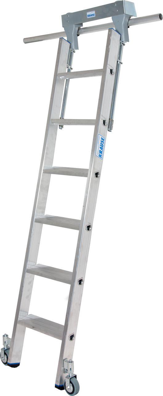 Стеллажные лестницы для круглой шины. Алюминиевая стеллажная лестница со встроенным блоком роликов для круглой шины (Ø 30 мм).