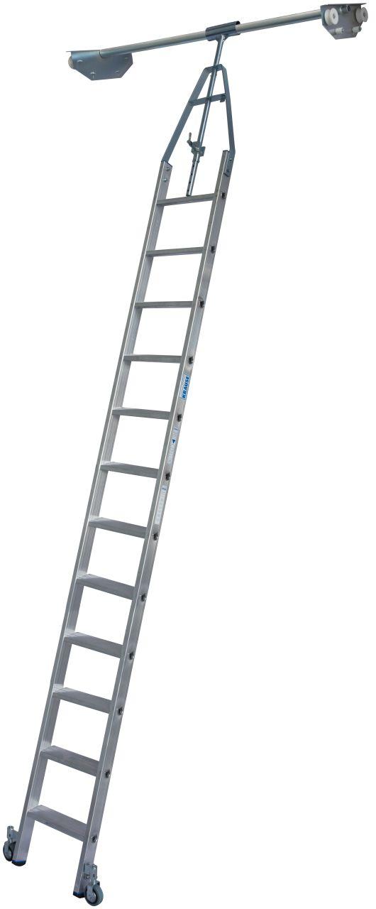 Стеллажные двухрядные лестницы. Алюминиевая стеллажная лестница со встроенным блоком роликов для двухрядных стеллажей.