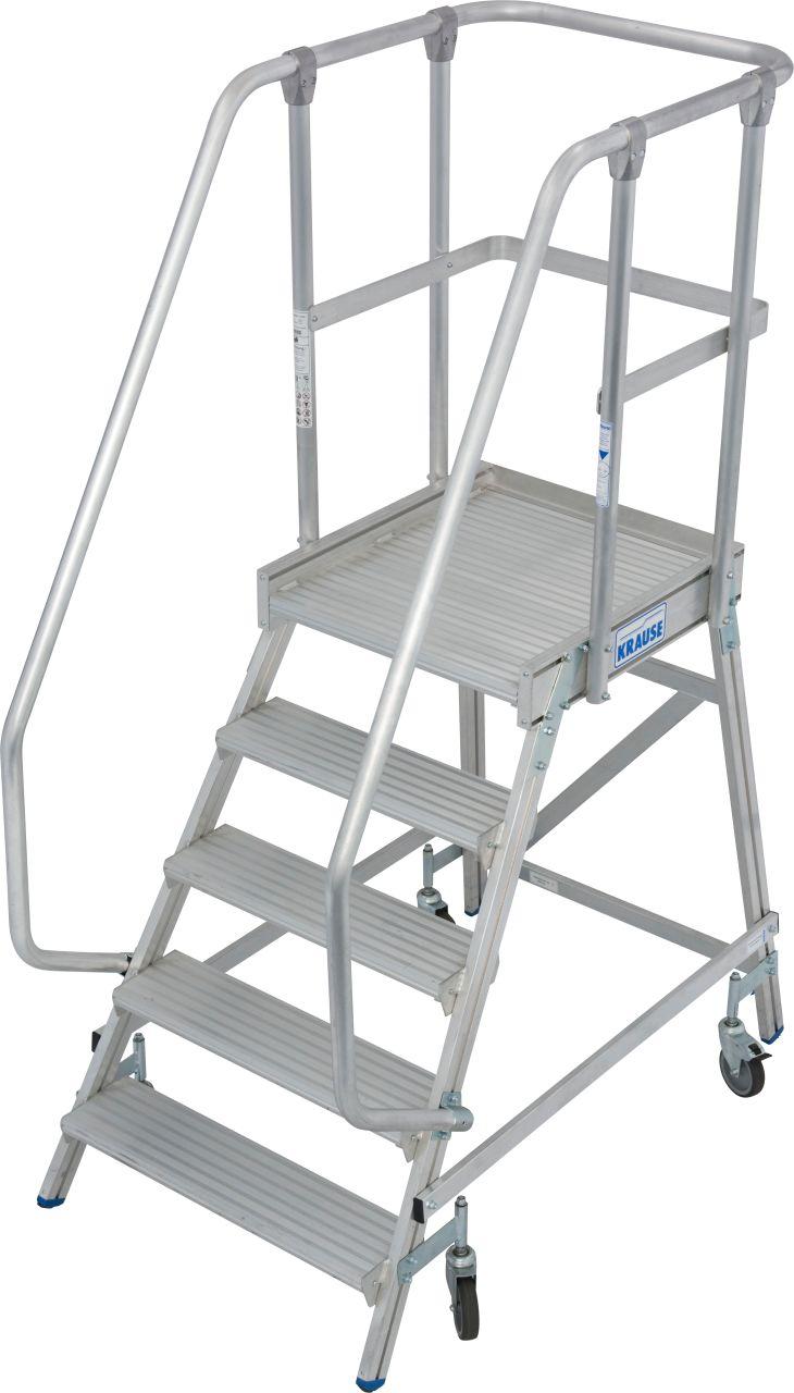 Односторонняя передвижная лестница с платформой. Односторонние передвижные алюминиевые лестницы с платформой. Широкие ступени, трехстороннее ограждение и большая платформа для удобства и безопасности при работе.