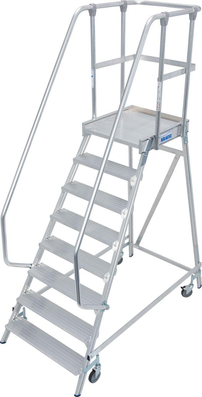 Односторонние передвижные лестницы с платформой. Односторонние передвижные алюминиевые лестницы с платформой. Широкие ступени, трехстороннее ограждение и большая платформа для удобства и безопасности при работе.