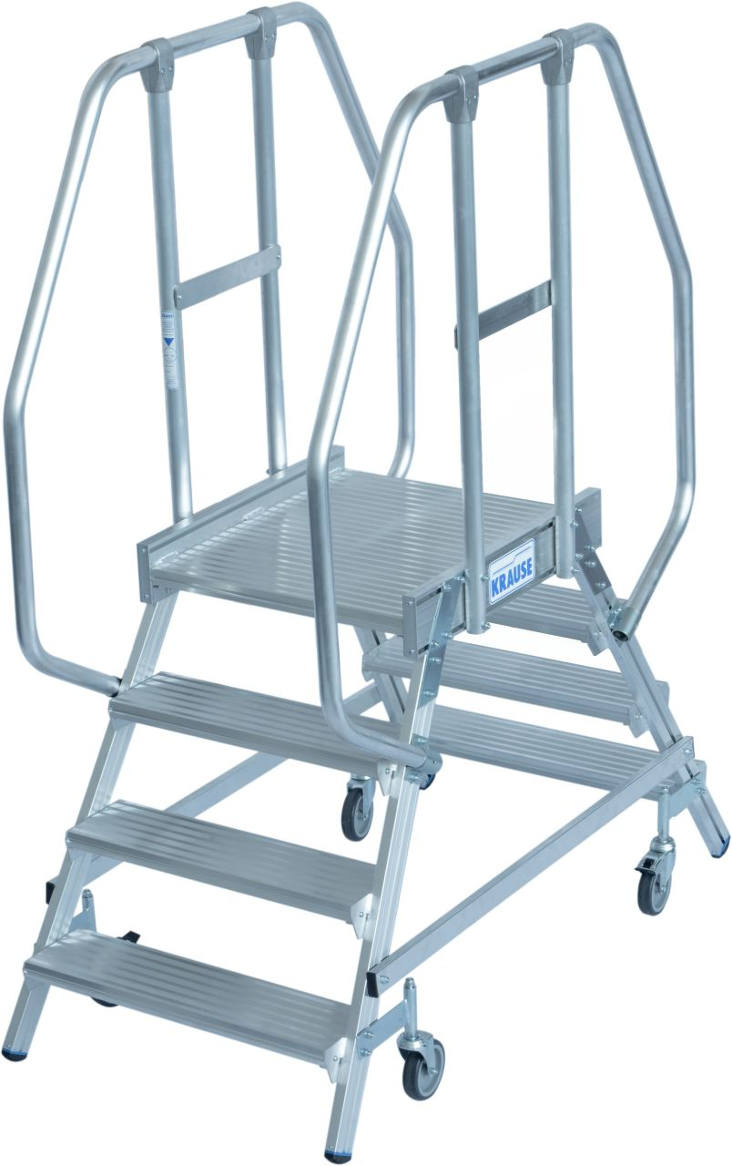 Двухсторонние передвижные лестницы с платформой. Двухсторонние передвижные алюминиевые лестницы с платформой. Широкие ступени, трехстороннее ограждение и большая платформа для удобства и безопасности при работе.