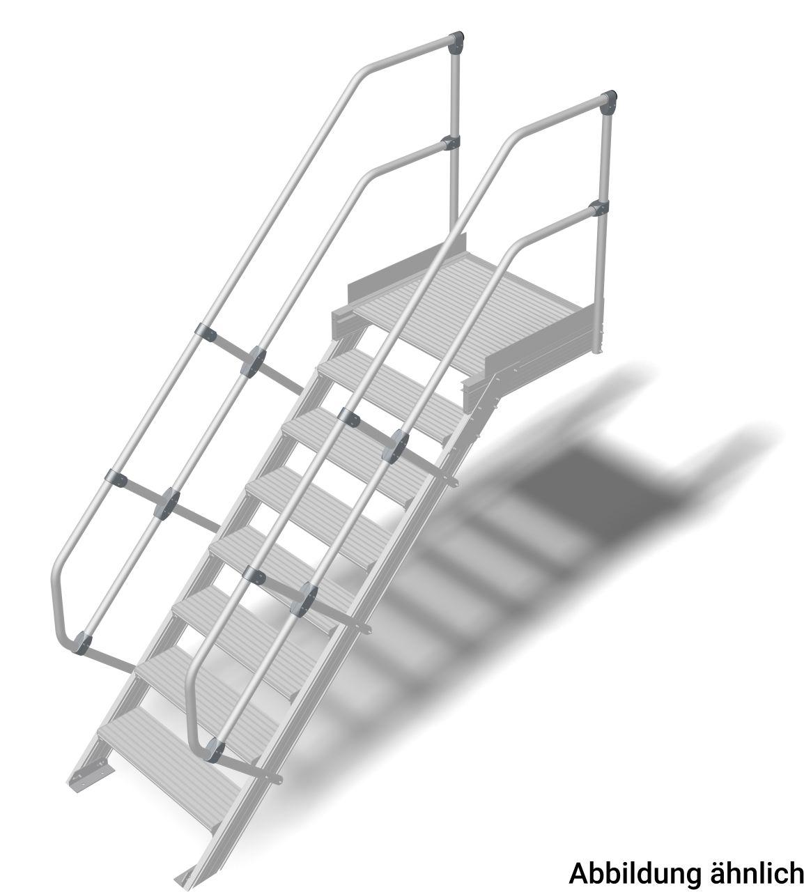Трап с платформой алюминиевый. Наклон 45°. Ширина ступеней 800 мм. Прочный алюминиевый трап, обеспечивающий безопасный доступ к дверям, площадкам и т. д. в соответствии с DIN EN ISO 14122.