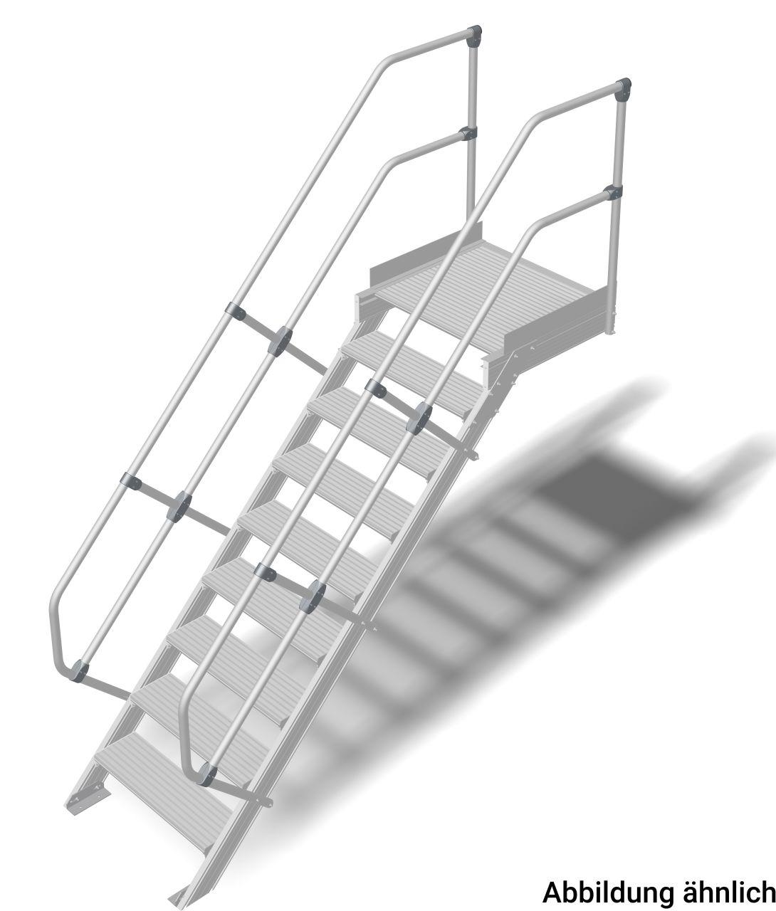 Трап с платформой алюминиевый. Наклон 45°. Ширина ступеней 600 мм. Прочный алюминиевый трап, обеспечивающий безопасный доступ к дверям, площадкам и т. д. в соответствии с DIN EN ISO 14122.