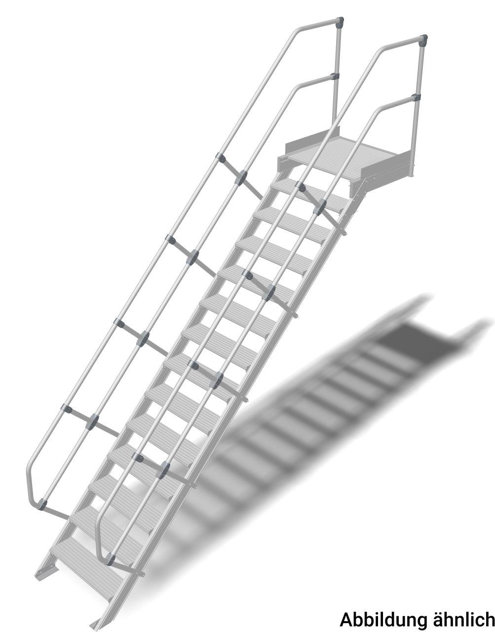 Трап с платформой алюминиевый. Наклон 45°. Ширина ступеней 1000 мм. Прочный алюминиевый трап, обеспечивающий безопасный доступ к дверям, площадкам и т. д. в соответствии с DIN EN ISO 14122.