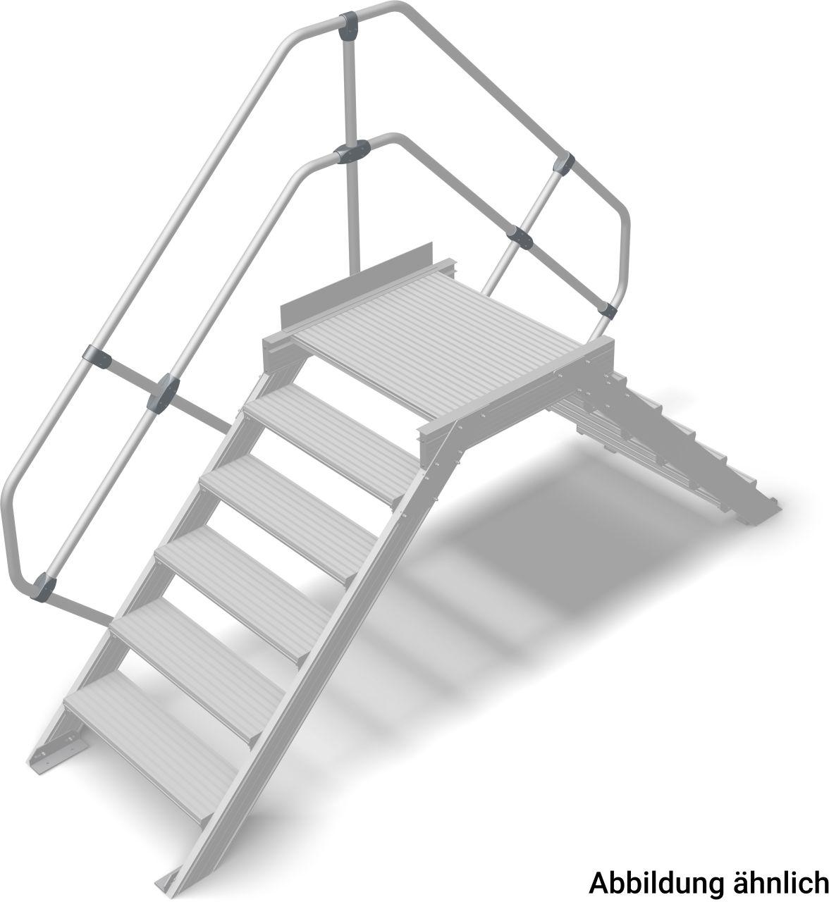Переход алюминиевый Наклон 45°. Ширина ступеней 800 мм. Стационарное или передвижное средство безопасного преодоления препятствий в соответствии с DIN EN ISO 14122.