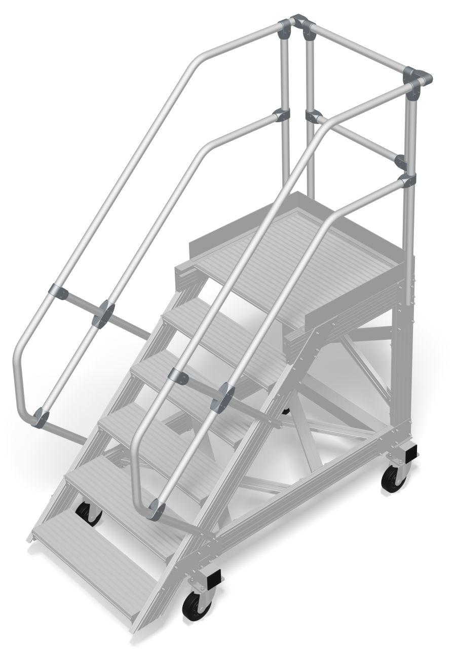 Передвижной трап с платформой алюминиевый. Наклон 60°. Ширина ступеней 800 мм. Прочный алюминиевый трап - безопасное и мобильное рабочее оборудование для различных видов деятельности, согласно DIN EN ISO 14122.