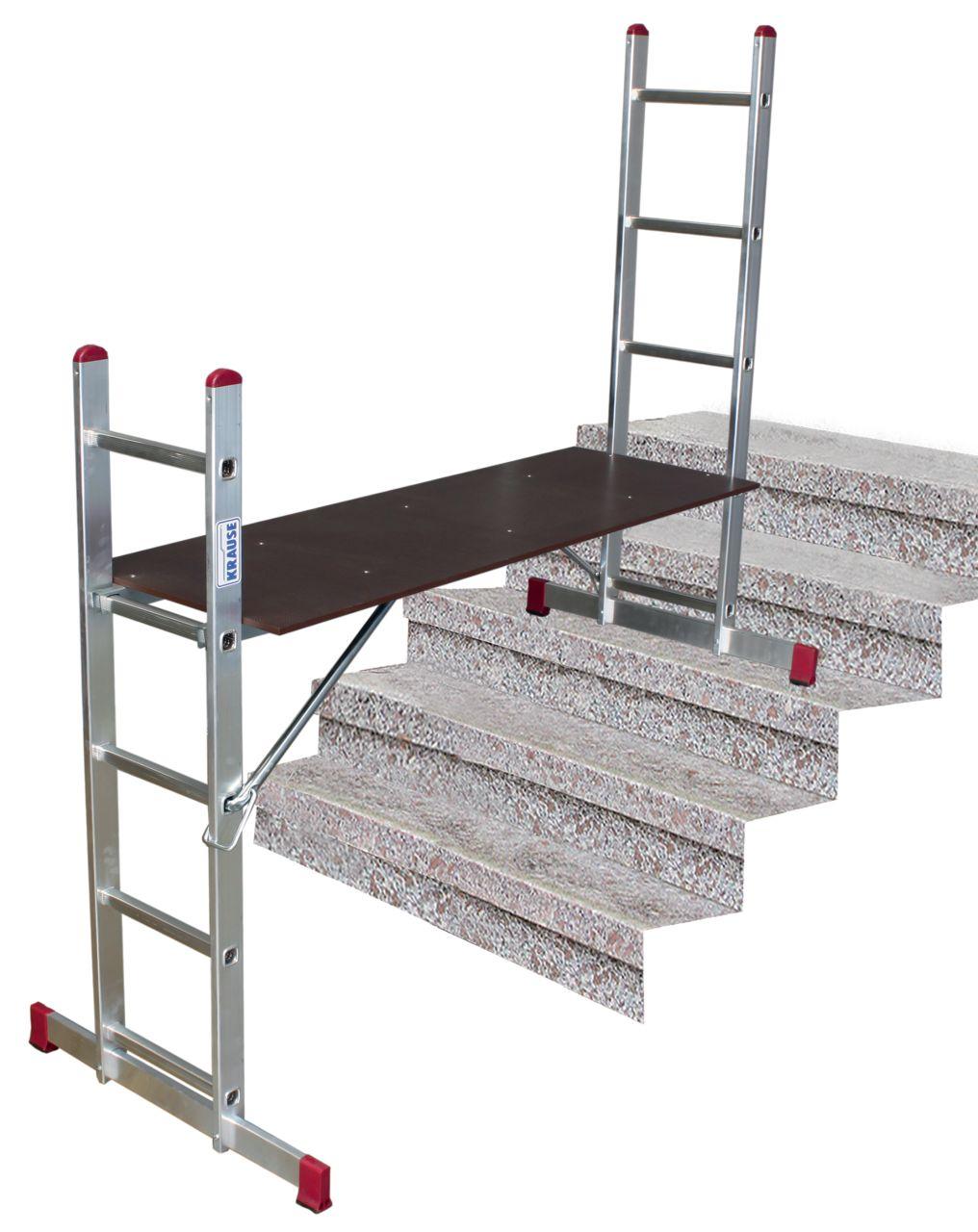 Лестничные подмости состоят из двух приставных лестниц с широкими поперечными траверсами и рабочей платформой, которую можно установить на любой перекладине