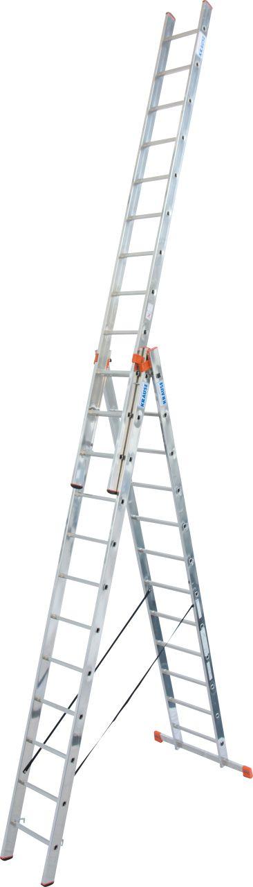 Трехсекционная универсальная лестница Tribilo. Трехсекционная универсальная лестница используется как приставная или выдвижная лестница, а так же как стремянка с выдвижной частью.