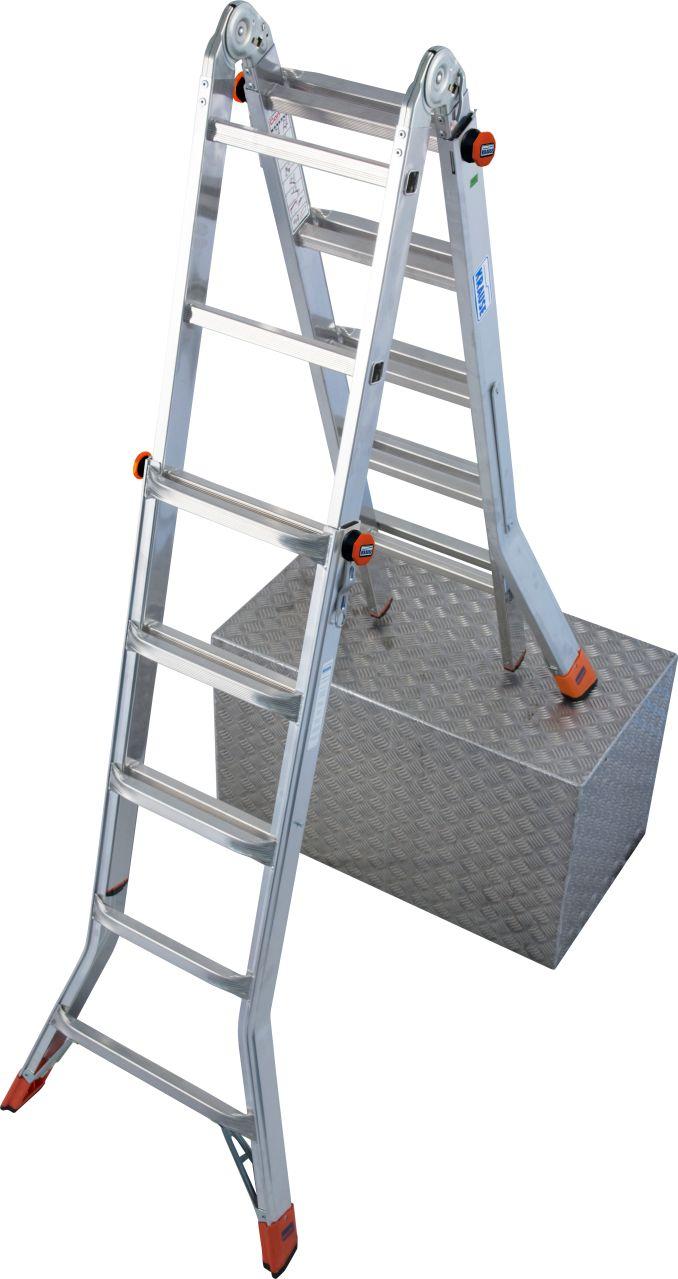 Шарнирная телескопическая лестница TeleMatic. Шарнирная лестница с изменяемой высотой, легко трансформируется в приставную лестницу, двухстороннюю стремянку, которую можно ставить на после ступени или в подмости (опциональное дополнение помостом TeleBoard