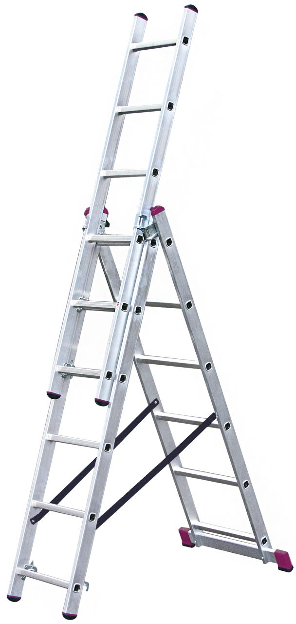 Универсальная лестница. Трехсекционная, универсальная алюминиевая лестница. Может применяться в качестве приставной, раздвижной лестницы, а также стремянки