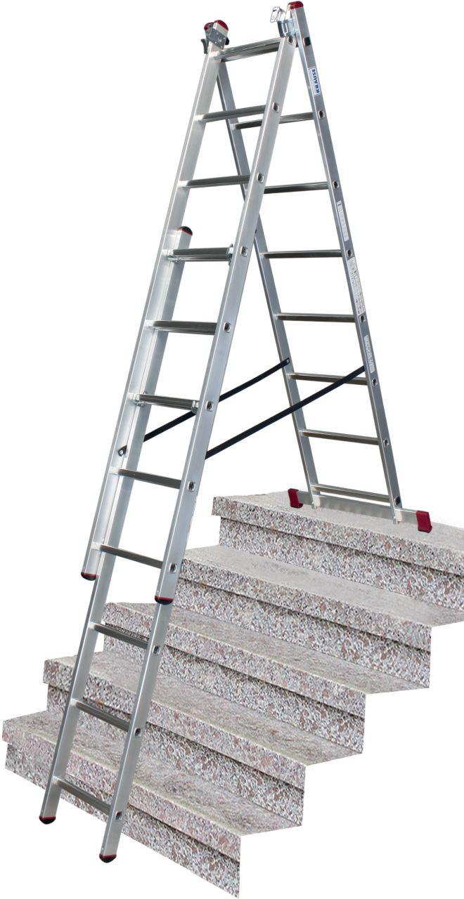Универсальная лестница с допфункцией. Трехсекционная, универсальная алюминиевая лестница. Может применяться в качестве приставной, раздвижной лестницы и стремянки. Дополнительная функция установки на различных высотах, например лестничных маршах