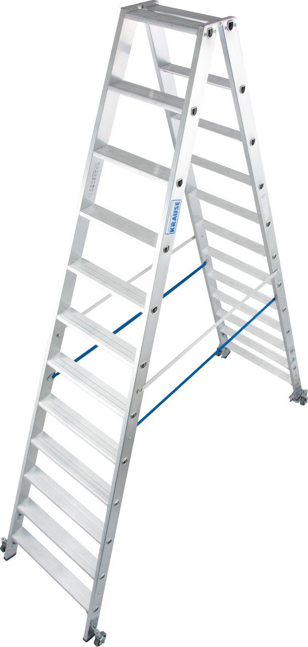 Стремянка двуххсторонняя, передвижн. Прочная двухсторонняя лестница для профессионального использования, оборудованная роликами для более быстрого и простого перемещения