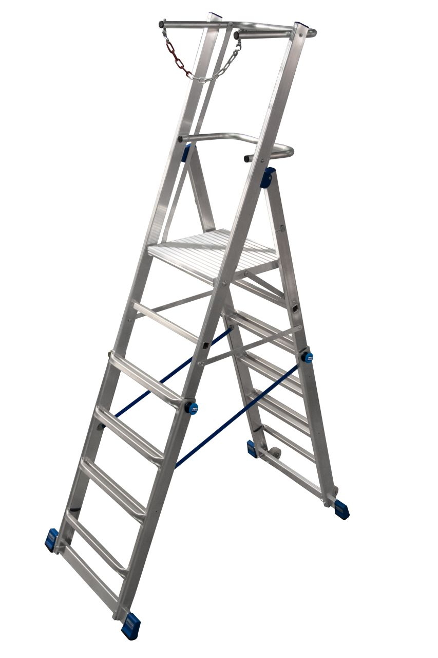Телескопическая лестница с платформой. Легко регулируемая по высоте телескопическая лестница с платформой. Данная лестница имеет большую платформу, U-образную дугу безопасности и цепь ограждения для безопасного использования, а так же вмонтированные ролик
