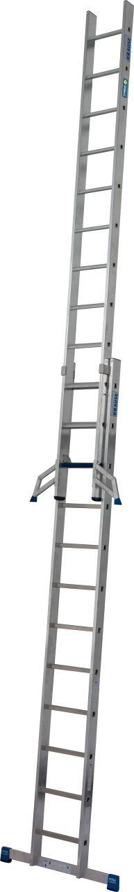 Раздвижная лестница +S. Стабильная двухсекционная раздвижная лестница с комбинацией ступеней и перекладин для применения в соответствии с TRBS 2121-2.