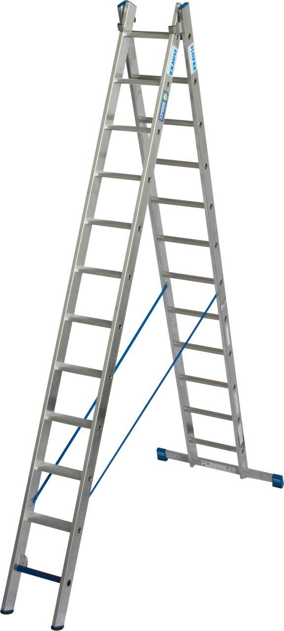 Универсальная лестница +S. Легкая, двухсекционная, профессиональная универсальная лестница из алюминия с комбинацией ступеньки/перекладины для применения в соответствии с TRBS 2121-2.