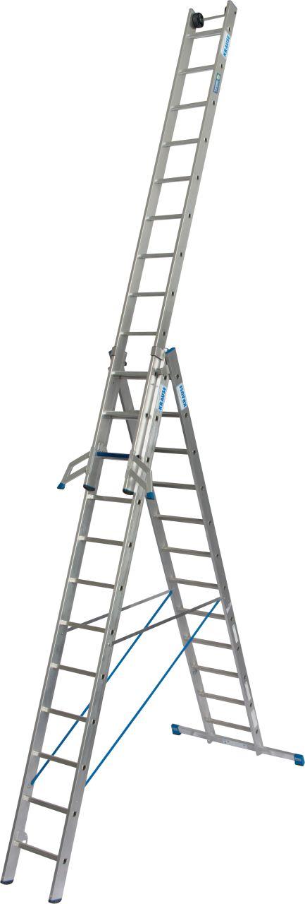 Универсальная лестница +S. Трехсекционная алюминиевая универсальная лестница с комбинацией перекладина/ступень для применения в соответствии с TRBS 2121-2.
