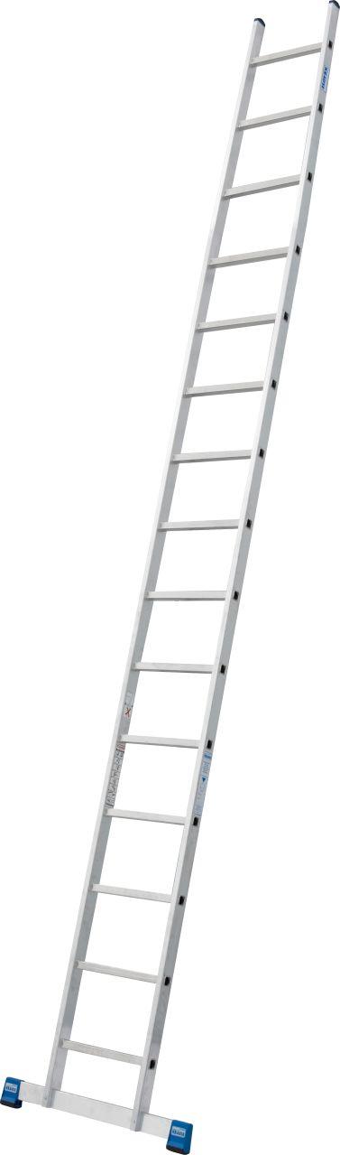 Приставная лестница с перекладинами. Ширина, устойчивость и универсальность - это атрибуты надёжности данной алюминиевой лестницы.