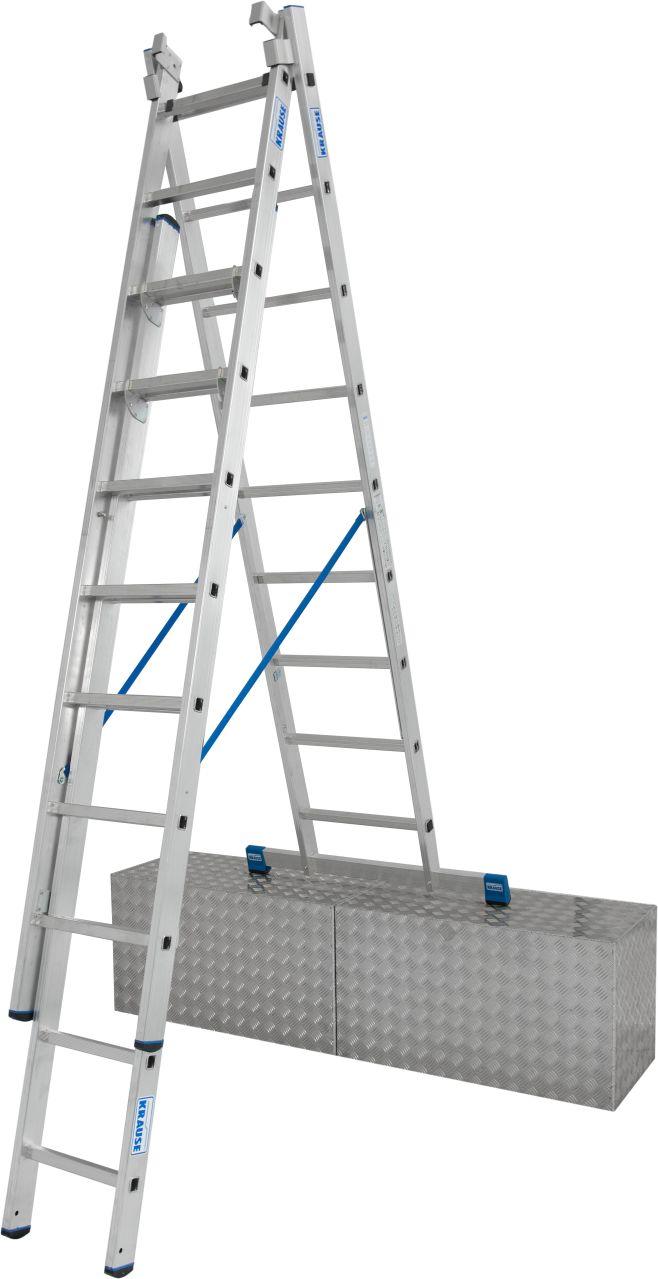 Трехсекционная универсальная лестница с дополнительной функцией. Трехсекционная универсальная лестница для профессионального использования. Используется как приставная или выдвижная лестница, а так же как стремянка с выдвижной или съемной частью.