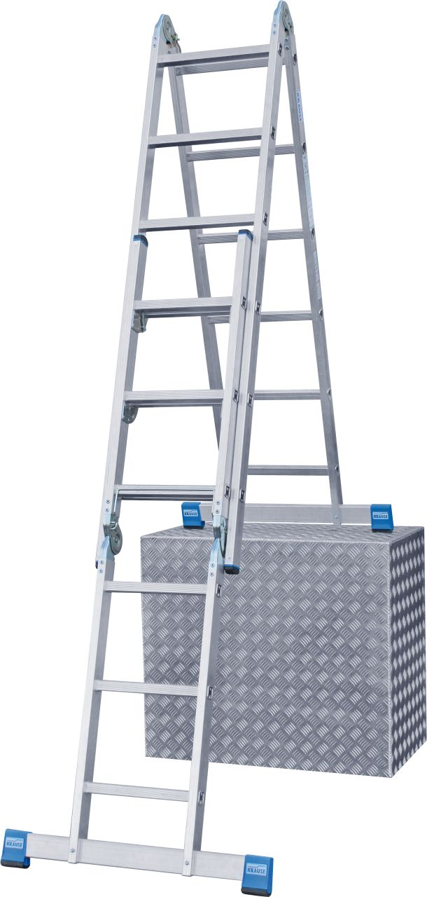 Универсальная шарнирная комбинированная лестница. Шарнирная алюминиевая лестница может устанавливаться на ступенях, применяться в виде приставной или универсальной лестницы или как стремянки, а так же в качестве рабочей платформы (в сочетании с помостом T