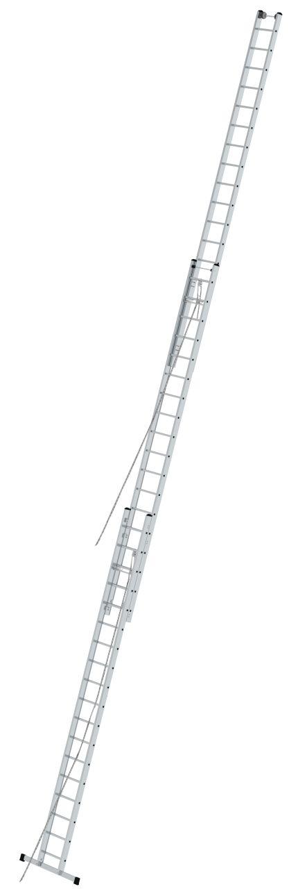 Трехсекционная лестница с тросом. Трехсекционная лестница с тросом (2 блока) для профессионального использования с настенными роликами для удобного выдвижения лестницы.