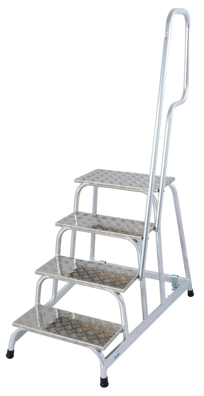 Монтажная передвижная подставка. Легкая передвижная монтажная подставка с нескользящими ступенями и поручнем для промышленного использования