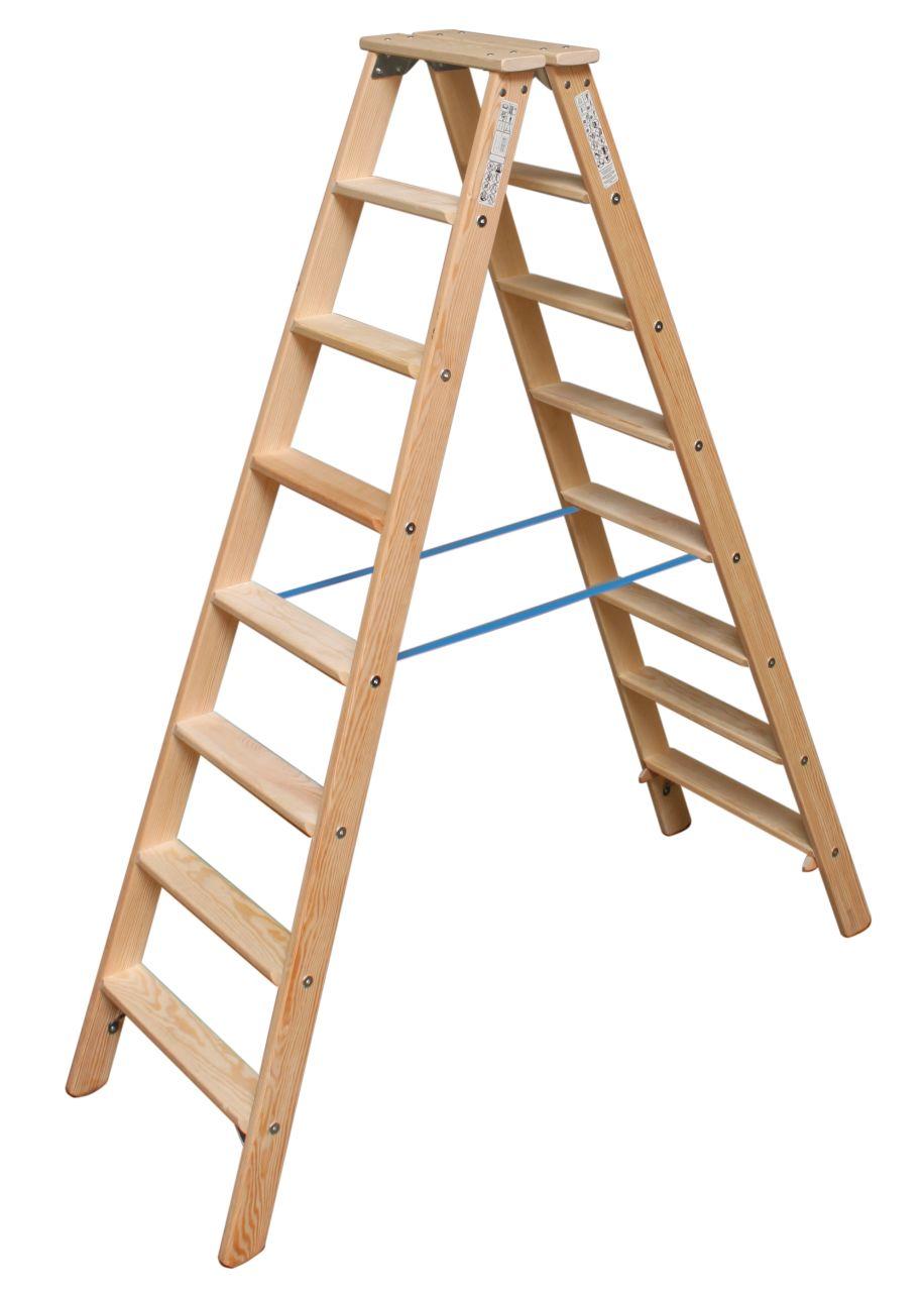 Двухсторонняя стремянка со ступенями. Удобная двухсторонняя стремянка из дерева с широкими ступенями для комфортной работы. Востребована малярами и электриками.