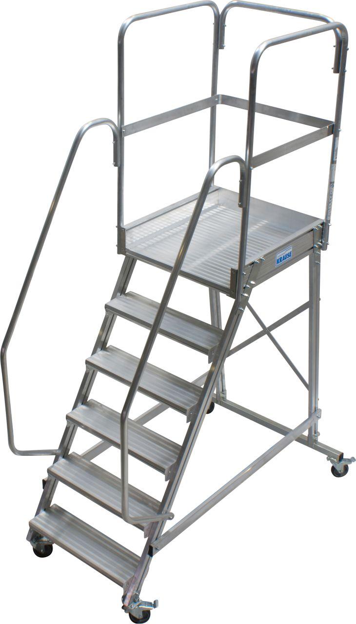 Односторонняя алюминиевая передвижная лестница с площадкой. Широкие ступени, двухсторонние перила и трёхстороннее ограждение площадки.