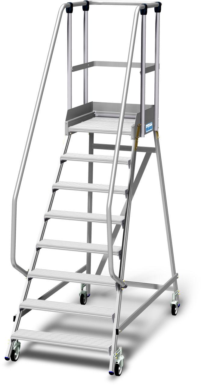 Лестница с платформой односторонняя с плинтусом на платформе и высоким ограждением площадки согласно EN 131-7. Передвижная двухсторонняя Алюминиевая лестница с площадкой с глубокими ступенями, двухсторонним ограждением, большой площадкой, 1,10 м высота ог