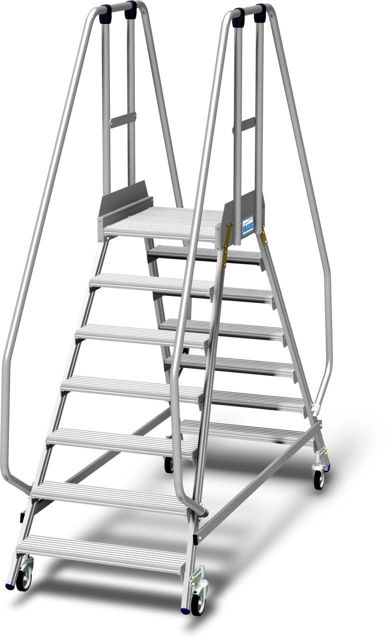 Лестница с платформой двухсторонняя, с плинтусом и высоким ограждением, согласно EN 131-7. Передвижная двухсторонняя Алюминиевая лестница с площадкой с глубокими ступенями, двухсторонним ограждением, большой площадкой, 1,10 м высота ограждения платформы и