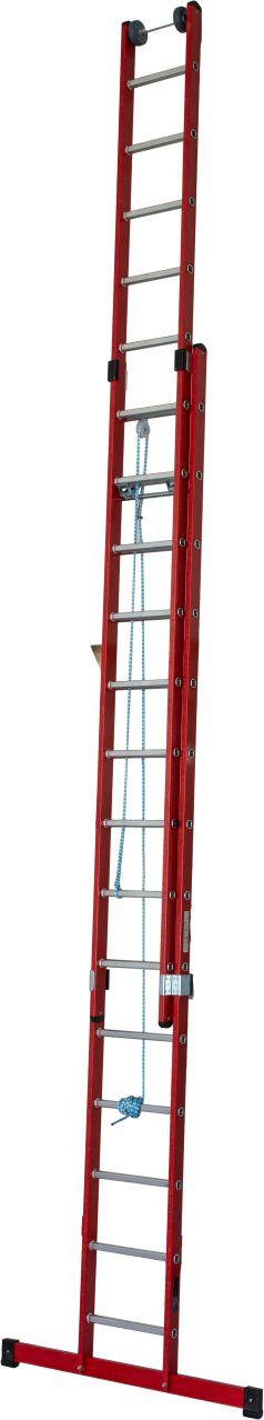 Диэлектрическая выдвижная лестница. Выдвижение верхней части при помощи троса.. Выдвижная лестница из усиленного стекловолокном пластика.
