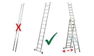 В соответствии с изменениями в DIN EN 131-1, приставные лестницы высотой от 3 метров и выше должны использоваться только с широкой опорной частью.