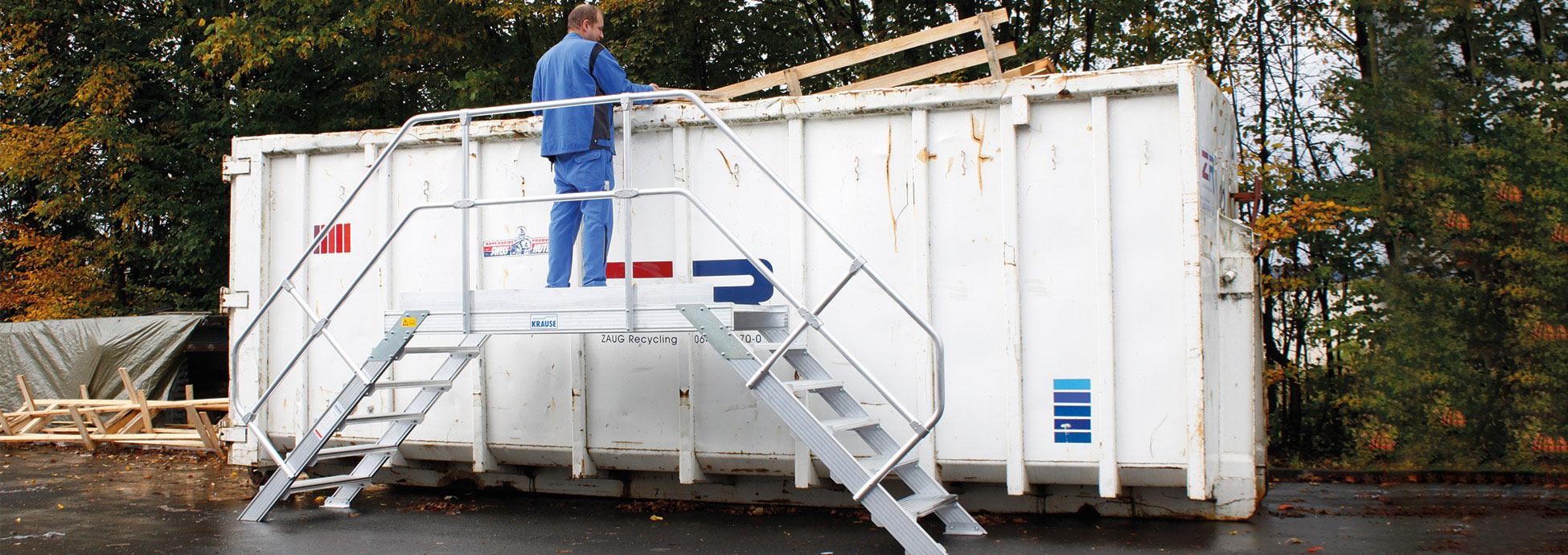 Специальные конструкции, монтажные подставки и лестницы с платформой из алюминия для утилизации отходов и мусора