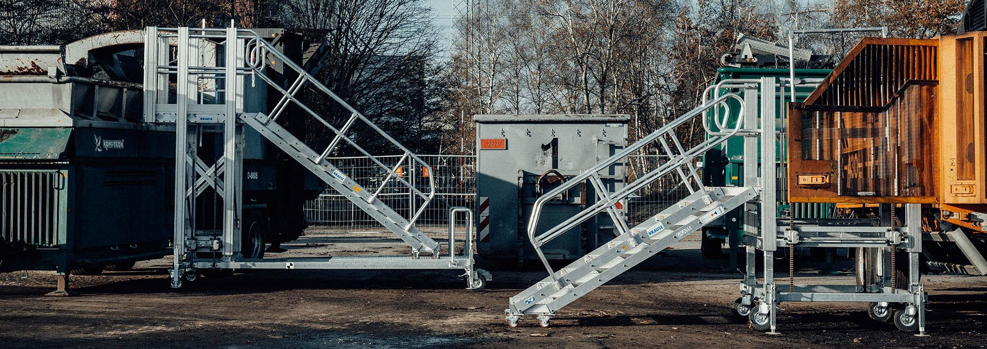 Мобильные и регулируемые по высоте рабочие платформы с доступом по лестнице