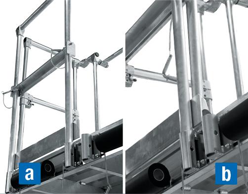 Подвесные рабочие платформы для работ на крыше – съемное ограждение a) установлено b) сложено