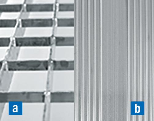 Подвесные рабочие платформы для работ на крыше - a) решетка b) рифленый алюминий