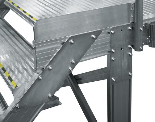Стационарные рабочие платформы для работ по борту и на крыше - Усиленное соединение лестницы с платформой
