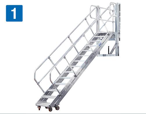 Передвижная рабочая платформа - Трап с изменяемым углом наклона