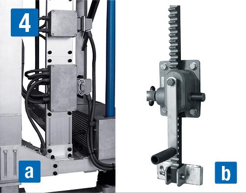 Передвижная рабочая платформа  - Регулировка высоты a) электрическая b) механическая