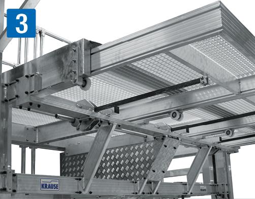 Передвижная рабочая платформа  - Телескопическая платформа регулируется по высоте с помощью курбеля и зубчатой рейки