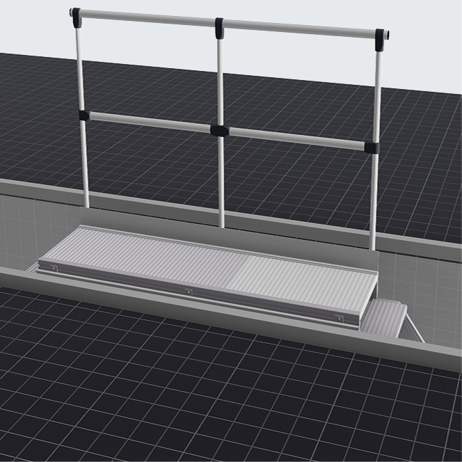 Мобильная платформа для смотровых ям с поручнем с одной стороны