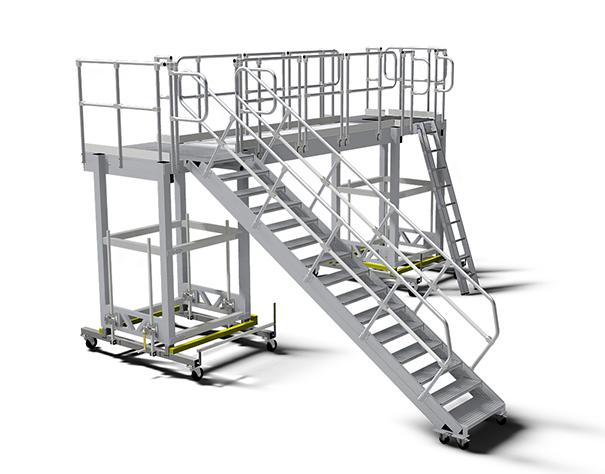 Передвижная рабочая платформа с маршевой лестницей для подъема